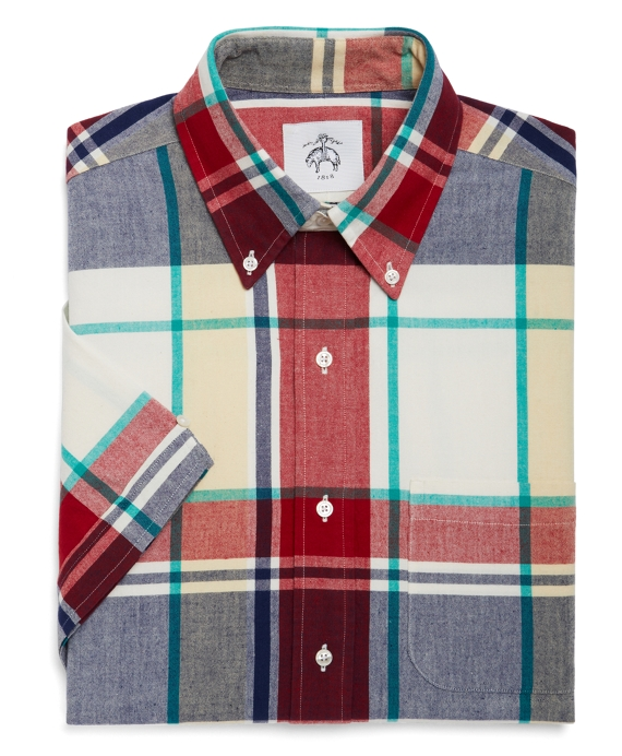 LARGE MADRAS BUTTON-DOWN SHORT-SLEEVE SHIRT Red-Navy-Green