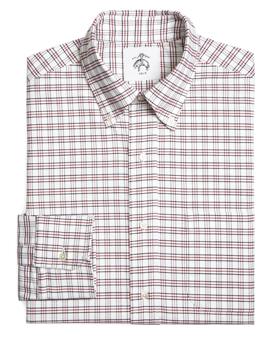 TATTERSALL OXFORD BUTTON-DOWN SHIRT White-Navy-Red