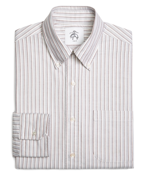 DOUBLE STRIPE OXFORD BUTTON-DOWN SHIRT Grey-Burgundy