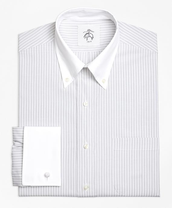 Wide Stripe French Cuff Shirt Grey