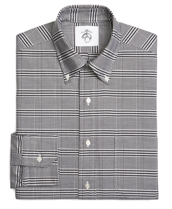 Prince of Wales Oxford Button-Down Shirt Black