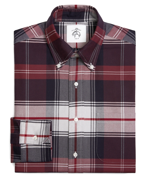 TARTAN OXFORD BUTTON-DOWN SHIRT Burgundy-Navy