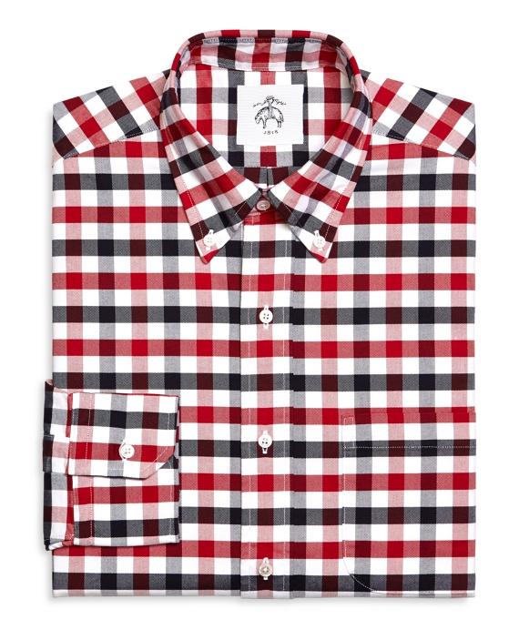 Men's Black Fleece Gingham Oxford Button-Down Shirt
