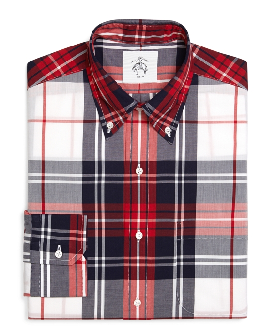PLAID OXFORD BUTTON-DOWN SHIRT Red-White-Navy