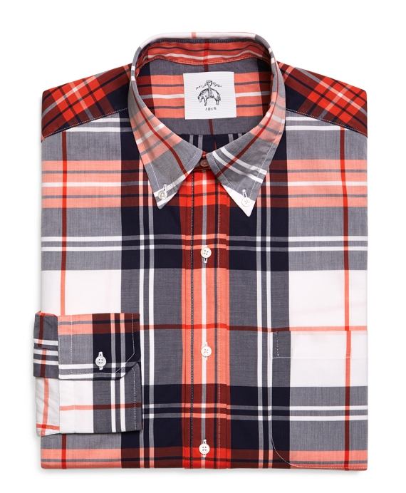 PLAID OXFORD BUTTON-DOWN SHIRT Navy-Coral-White