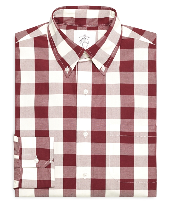 Large Gingham Button-Down Shirt Burgundy-White