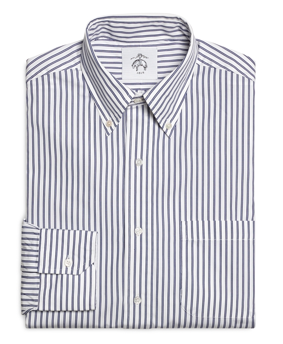 men 39 s white and navy striped button down shirt brooks