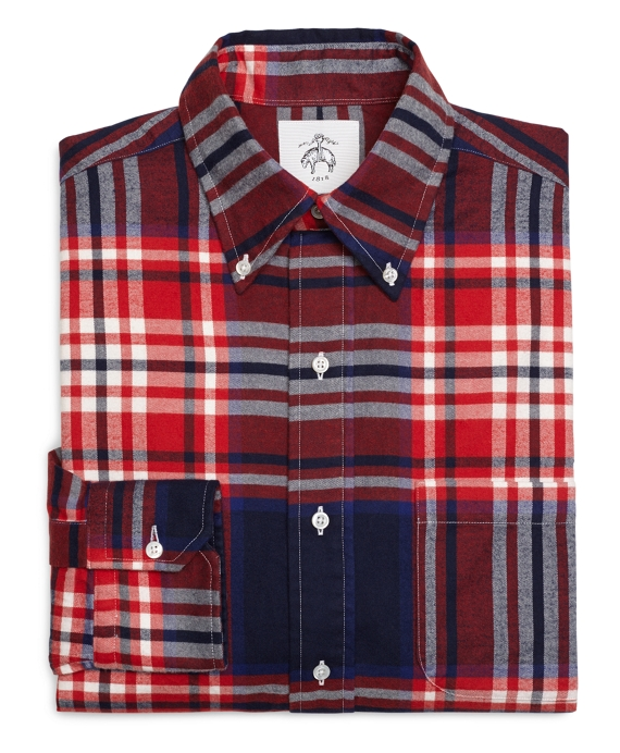 Red White and Navy Plaid Button-Down Shirt Red-White-Navy