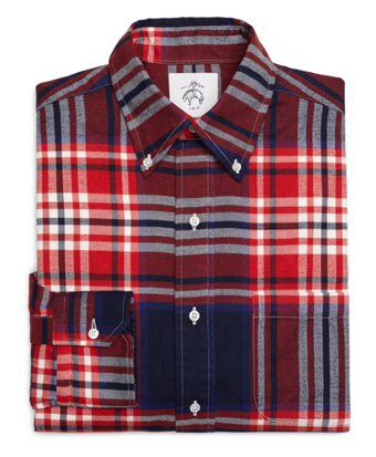 Red White and Navy Plaid Button-Down Shirt