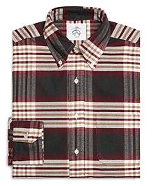 Khaki Burgundy and Green Plaid Button-Down Shirt
