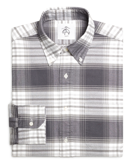 Grey and White Plaid Shirt