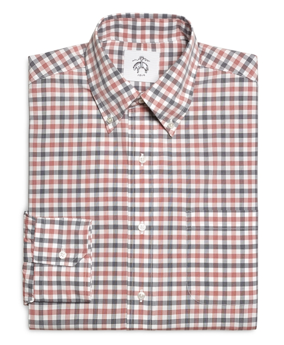 Men 39 s red navy and white check button down shirt for Red and white button down shirt