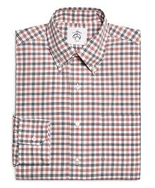 Red Navy and White Check Button-Down Shirt