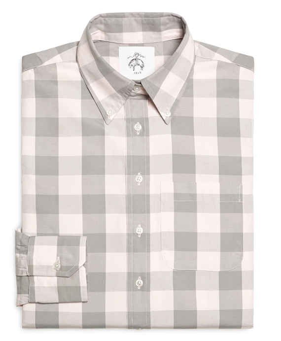 Pink and Grey Large Gingham Button-Down Shirt Pink-Grey