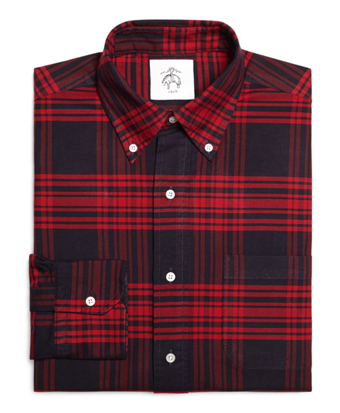 Navy and Red Plaid Button-Down Shirt