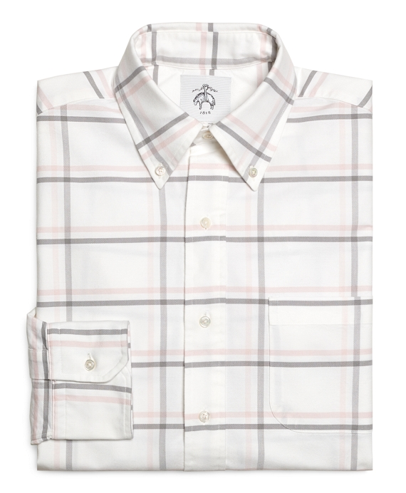 White Pink and Grey Large Windowpane Button-Down Shirt White-Pink-Grey