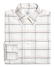 White Pink and Grey Large Windowpane Button-Down Shirt