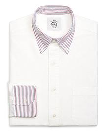 Stripe Collar and Cuffs Button-Down Shirt