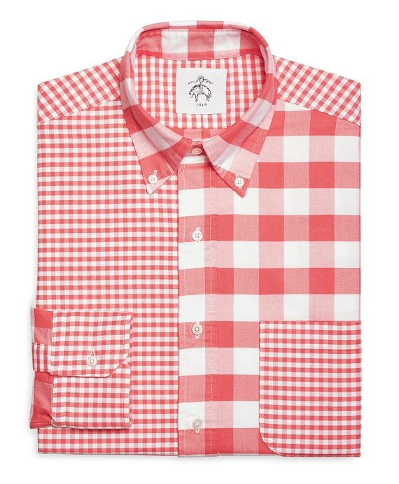 Fun Gingham Button-Down Shirt Coral
