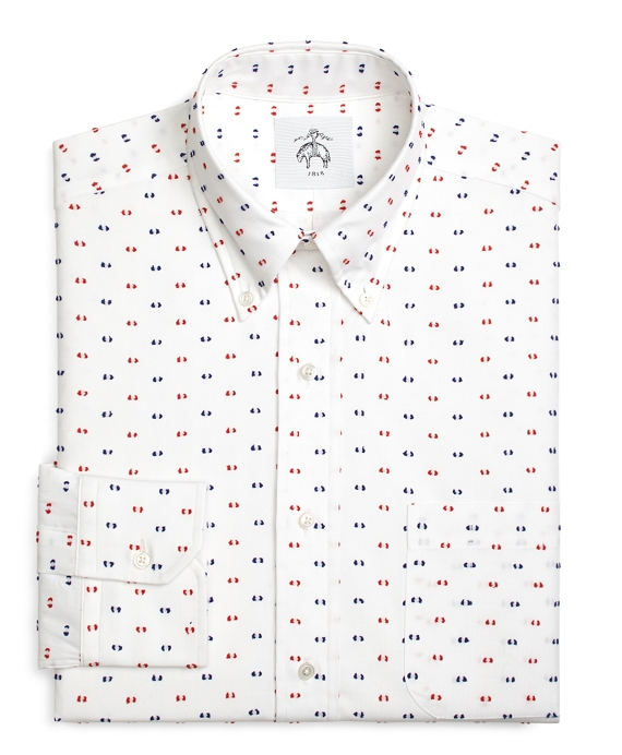 Red and Navy Textured Dot Button-Down Shirt Red-White-Navy