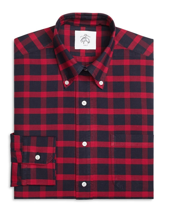 Plaid Button-Down Shirt Navy-Red