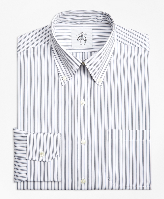 Stripe Button-Down Shirt Grey-White