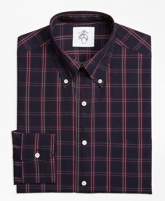 Plaid Button-Down Shirt Red-White-Navy
