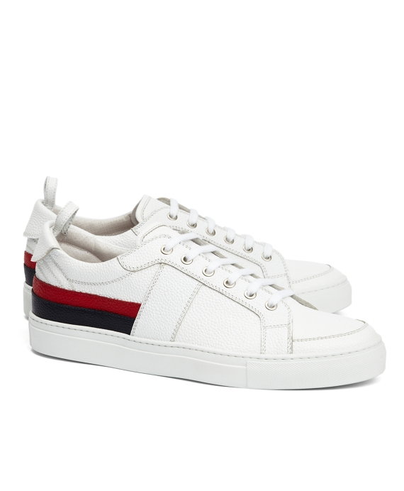 PEBBLE LEATHER STRIPED SNEAKERS White