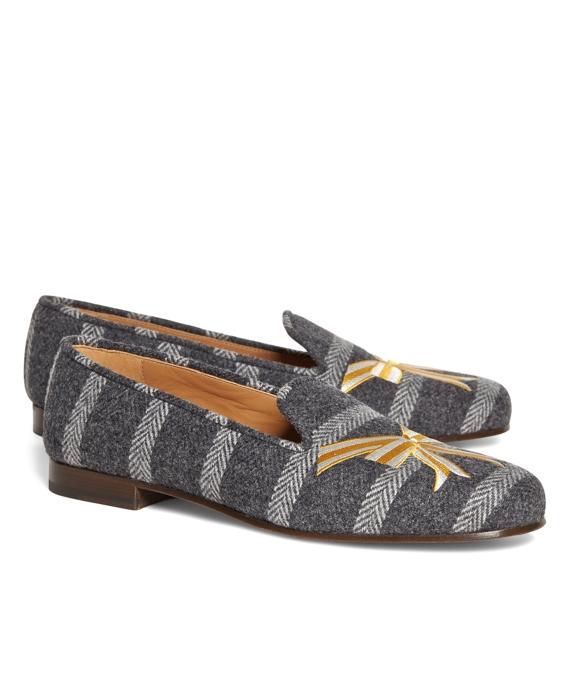Herringbone Stripe with Bow Slip-On Shoe Grey