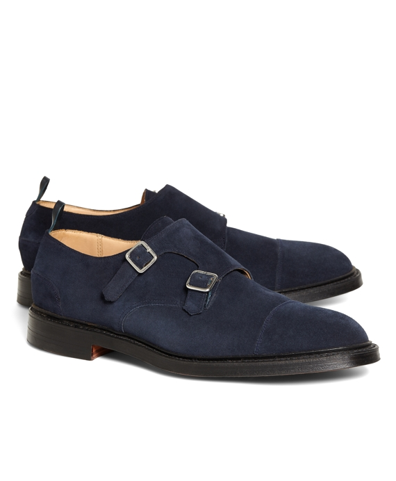 Navy Suede Double Monk Strap Navy