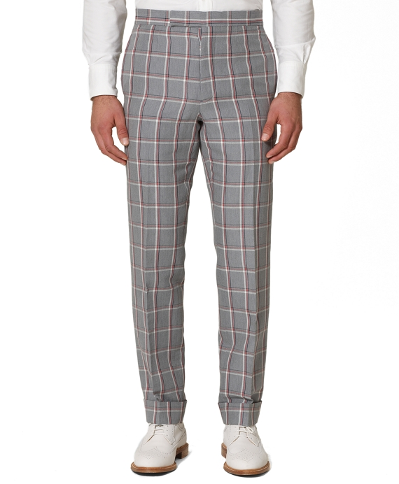 Linen Plaid Tab Trousers Grey