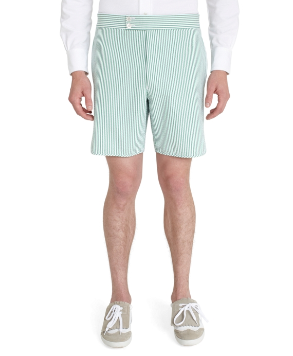 Double Button Shorts Green-White