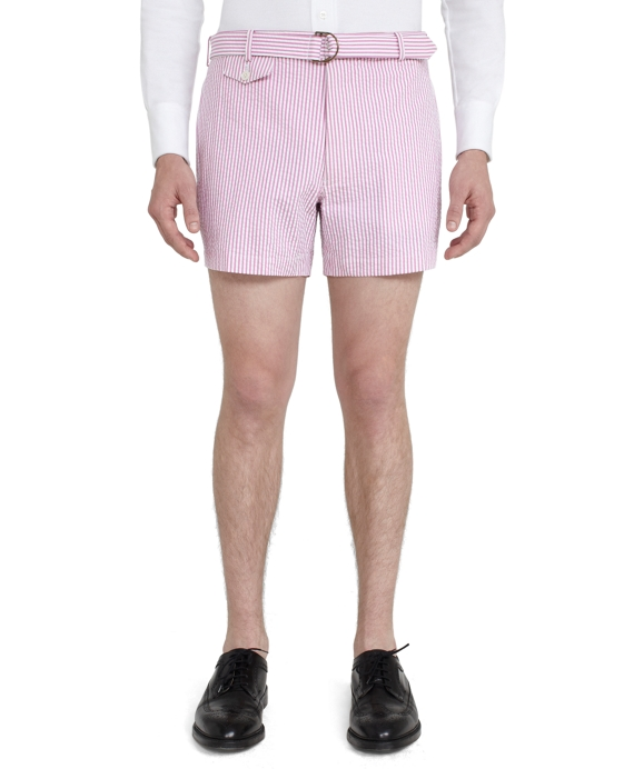 Belted Shorts Pink-White