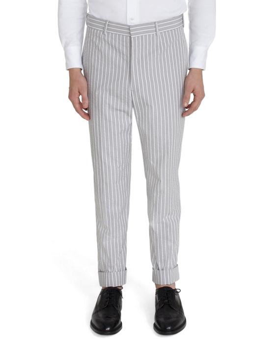 Stripe Seersucker Belt Loop Trousers Grey