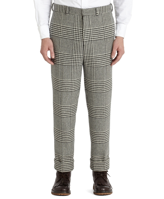 Prince of Wales Belt Loop Trousers Black-White