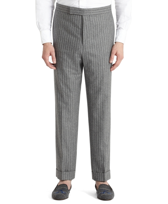 Chalk Stripe Tab Trousers Light Grey