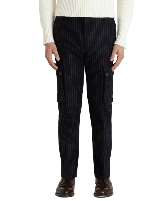 Chalk Stripe Cargo Pants Navy