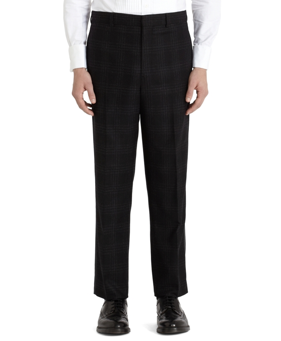 Black Plaid Tuxedo Trousers Black