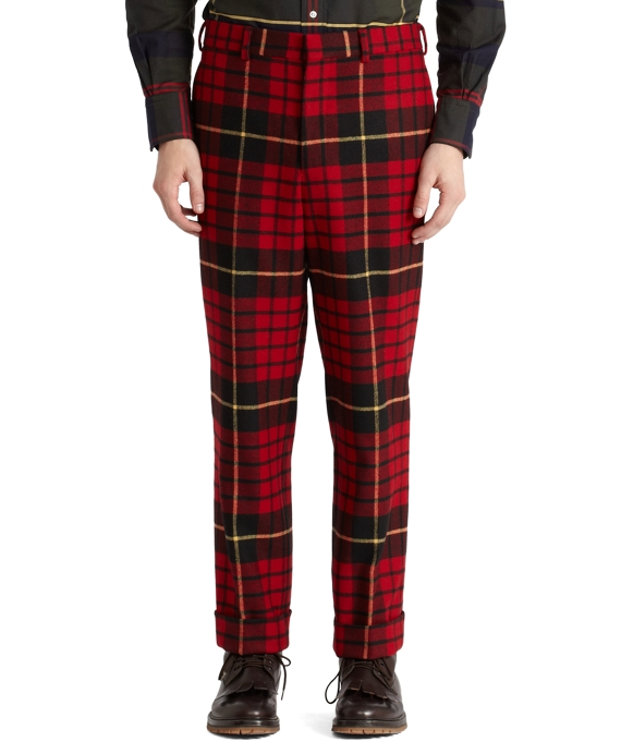 Tartan Belt Loop Trousers Red-Black