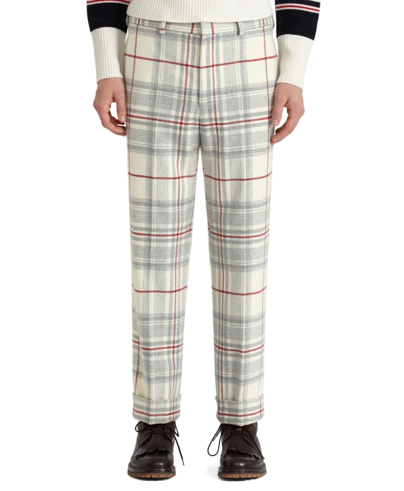 Tartan Belt Loop Trousers White-Grey