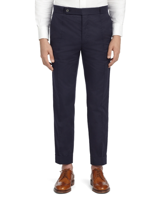 NAVY POPLIN SIDE CUT TROUSERS Navy