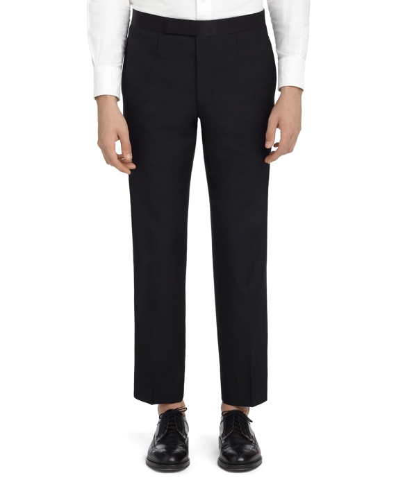 BLACK TEXTURED TAB TROUSERS Black