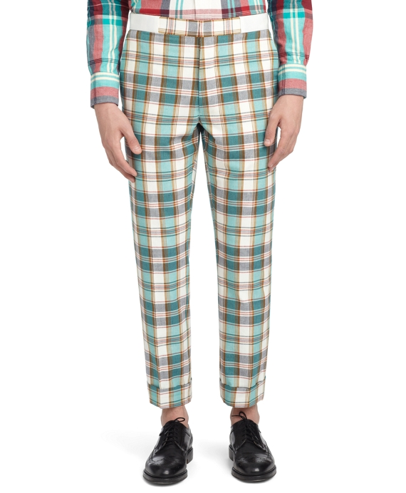 MADRAS TROUSERS Navy-Aqua-Red