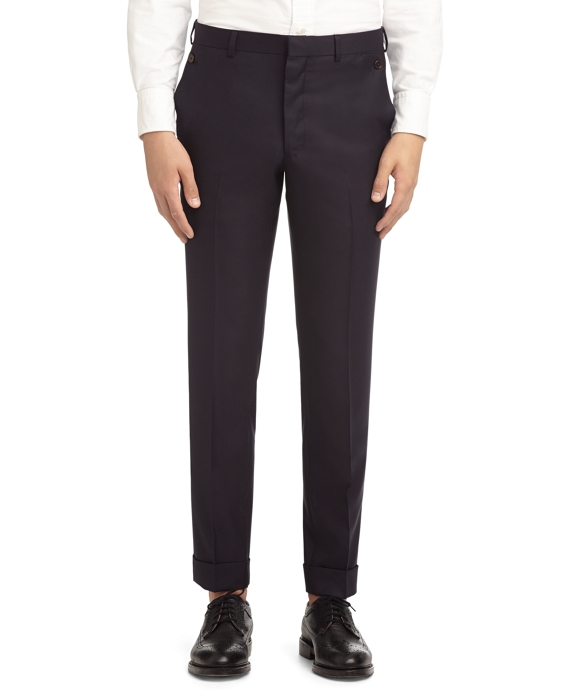 WOOL TWILL BUTTON POCKET Trousers Navy