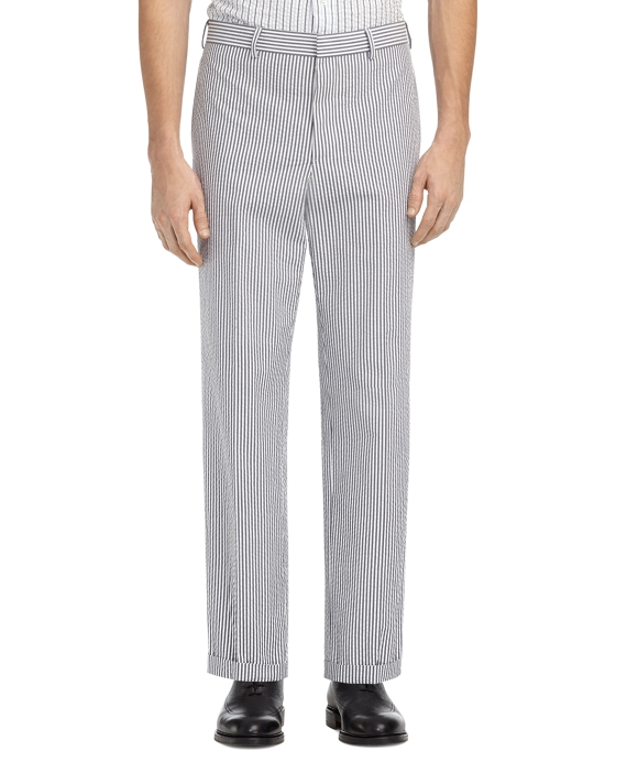 SEERSUCKER BELT LOOP TROUSERS Navy-White