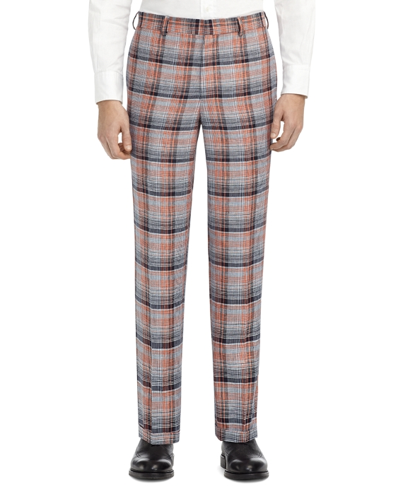 PLAID BELT LOOP TROUSERS Navy-Coral
