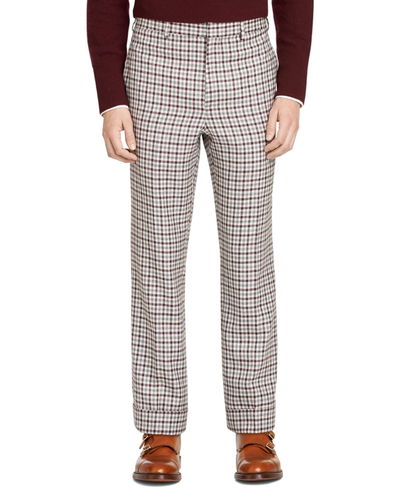 Burgundy Check Belt Loop Trousers Burgundy
