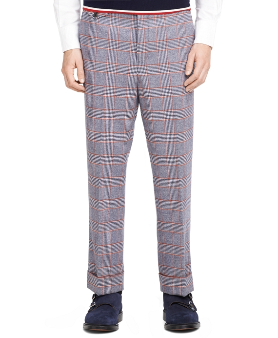 Navy Plaid Tab Trousers Navy