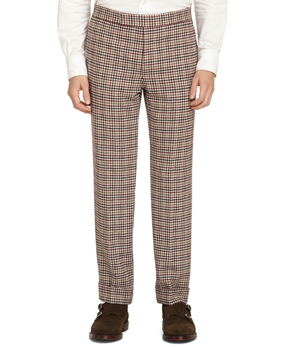 Tan Houndstooth Belt Loop Trousers Tan