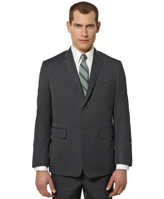 Black Fleece Pinstripe Classic Suit Grey